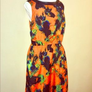 Kensie Floral Dress with Faux Leather Collar